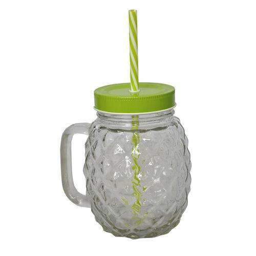 Copo de Vidro com Canudo Pineapple Transparente 540ml