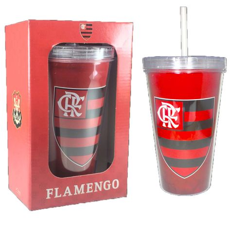 Copo Flamengo Parede Dupla com Canudo 470 ML na Luva UN