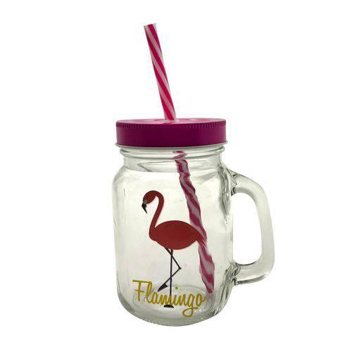 Copo Jarra de Vidro Flamingo Rosa - Urban