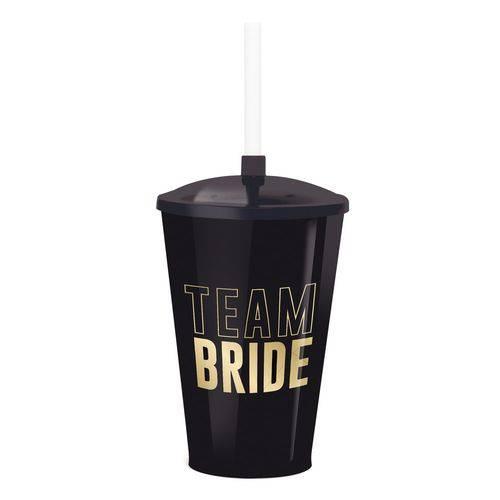 Copo Plástico 500ml C/tampa/canudo Team Bride Dec. Festa