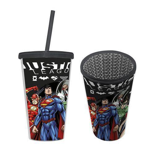Copo Plástico com Canudo - Liga da Justiça