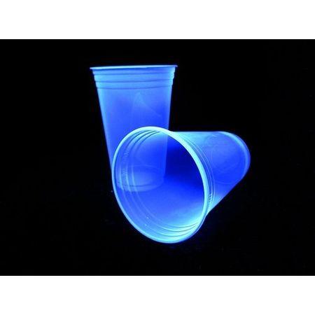 Copo Plástico Descartável Azul Neon 300ml - 25 Unidades