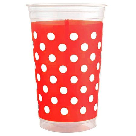 Copo Plástico Mania Vermelho Poá Branco Copo Plástico Descartável Mania Vermelho Poá Branco 300ml - 30 Unidades