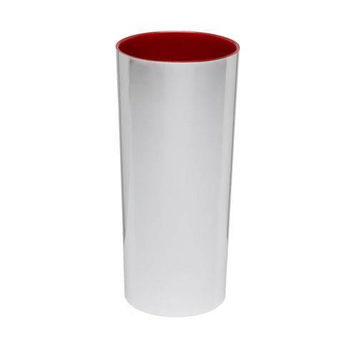 KIT 100 Copos Long Drink Metalizado Prata com Vermelho