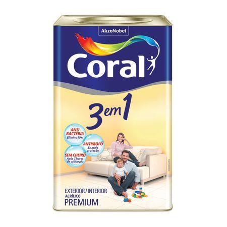 Tinta Coral 3 em 1 Acrílico Premium Fosco Branco