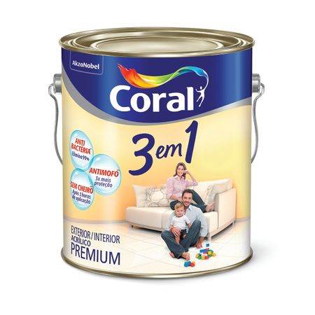 Tinta Acrílica Coral 3 em 1 Premium Fosco Branco Neve