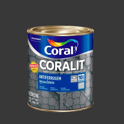 Coralit Esmalte Sintético Antiferrugem 900ml - Escolha a Cor Preto 900ml
