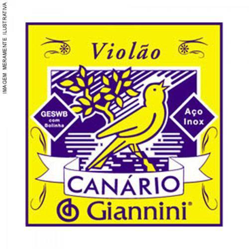 Corda de Aço Canário Geswb1 para Violão com Bolinha 1ª Corda Giannini (12 Un)