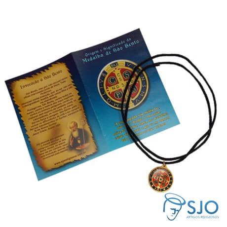 Cordão com Medalha de São Bento e Oração | SJO Artigos Religiosos