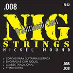 "Cordas para Guitarra Elétrica 008"" - 038"" Tradicional - Nig Strings"