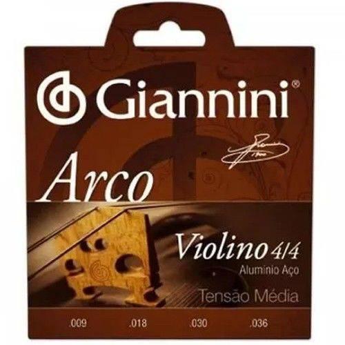 Cordas para Violino Geavva Série Arco Aço Médio Giannini