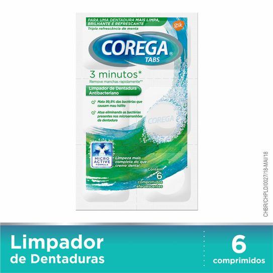 Corega Tabs Limpador de Dentaduras Branqueador 6 Pastilhas