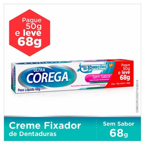 Corega Ultra Creme Fixador de Dentadura Sem Sabor Leve 68g Pague 50g