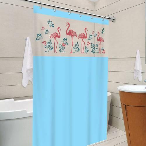 Cortina de Box Banheiro com Visor 1,38 X 1,98 Azul Flamingo