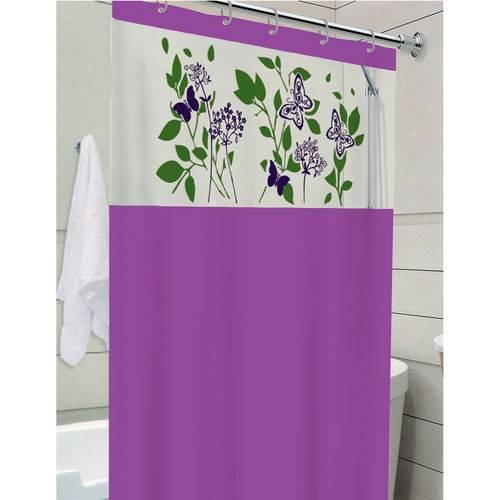 Cortina de Box Banheiro com Visor 1,38 X 1,98 Roxo Avenca
