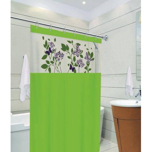 Cortina de Box Banheiro com Visor 1,38 X 1,98 Verde Avenca