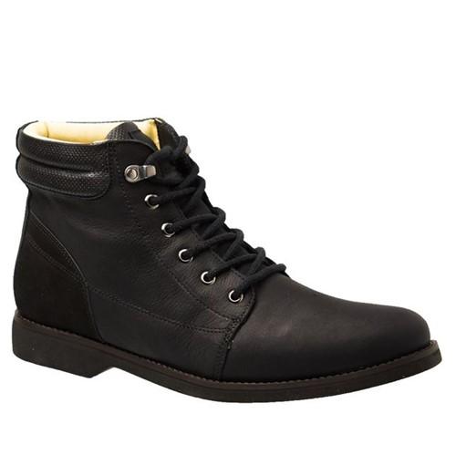 Coturno Masculino Gel Anatômico em Couro Preto Graxo/Nobuck 8615 Doctor Shoes