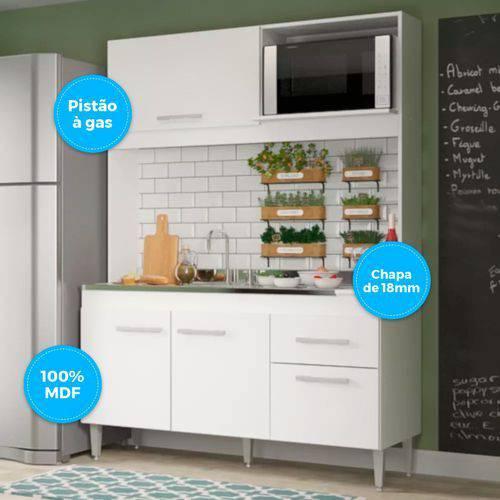 Cozinha Compacta Soluzione Sara 4 Portas e 1 Gaveta - Branco