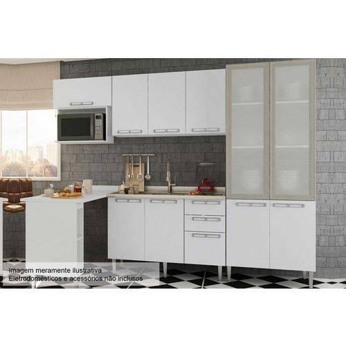 Cozinha Completa Art In Móveis Mia Coccina C/ 6 Peças CZ53 S/ Pia - Cor Branco