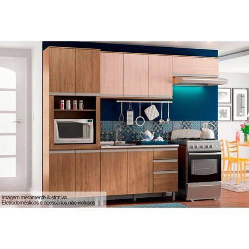 Cozinha Completa Henn Integra C/5 Peças (Torre Quente+2 Aéreos+Balcão) CZ06-Cor Rústico C/Fendi