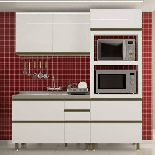 Cozinha Completa Modulada Vitória Ravena 3 Peças MDF K107 Dalla Costa - Dalla Costa