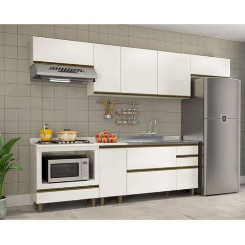 Cozinha Completa Modulada Vitória Vicenza 8 Peças em Mdf Offwhite Dalla Costa