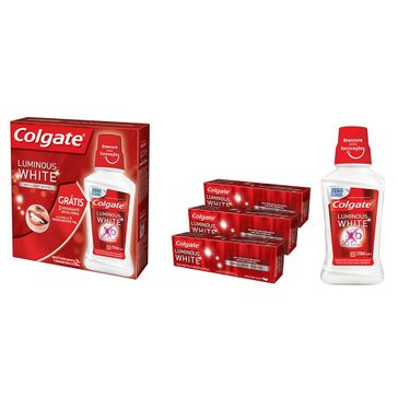Creme Dental Branqueador Colgate Luminous White 70g Compre 3 Ganhe 1 Enxaguante 250ml