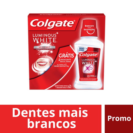 Creme Dental Branqueador Colgate Luminous White 70g Promo Compre 3 Ganhe 1 Enxaguante 250ml