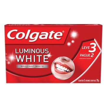 Creme Dental Colgate Luminous White 70g Leve 3 Pague 2