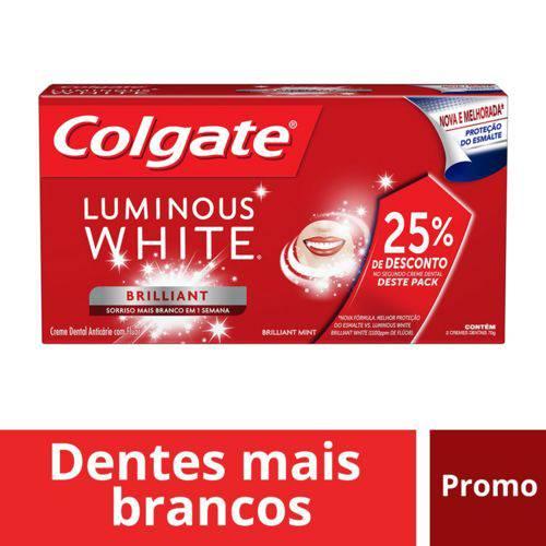 Creme Dental Colgate Luminous White Brilliant White C/2 Bisnagas de 70g (50% de Desconto no Segundo)
