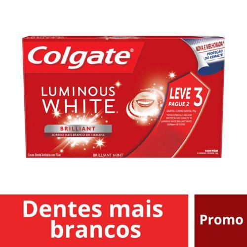 Creme Dental Colgate Luminous White 3x70g