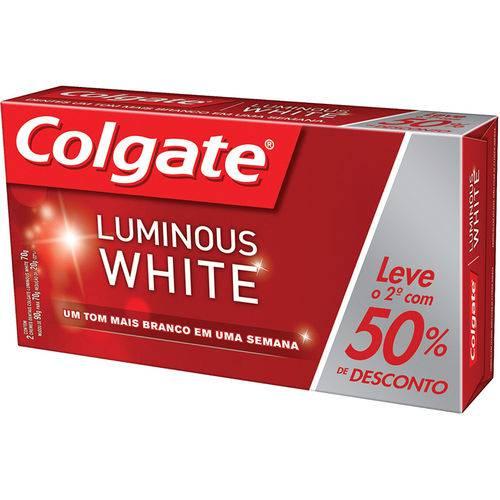 Creme Dental Colgate Luminous White 2x90g com 40% de Desconto na Segunda Unidade