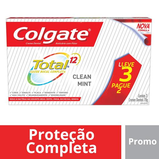 Creme Dental Colgate Total 12 Clean Mint 70g Promo Leve 3 Pague 2