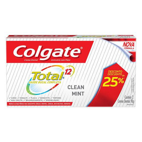 Creme Dental Colgate Total 12 Clean Mint C/2 Bisnagas de 90g