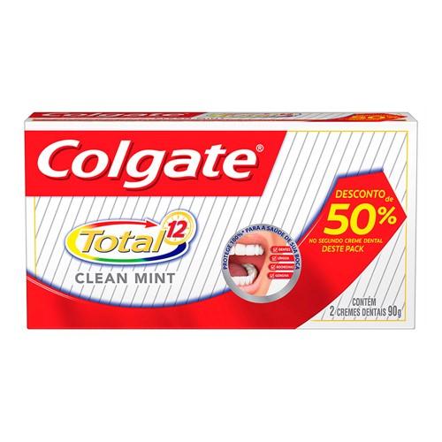 Creme Dental Colgate Total 12 Clean Mint com 2 Unidades de 90g Cada com 50% de Desconto na 2º Unidade