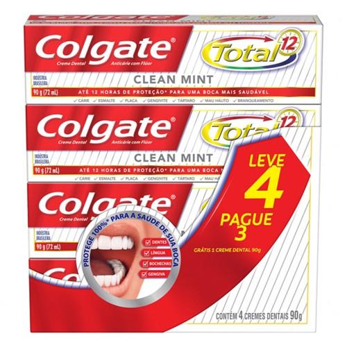 Creme Dental Colgate Total 12 Clean Mint Leve 4 Pague 3 com 90g Cada