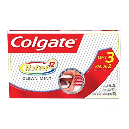 Creme Dental Colgate Total 12 Clean Mint Leve 3 Pague 2 com 70g Cada