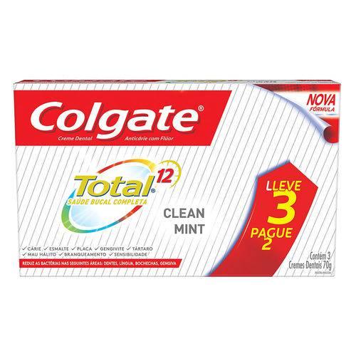 Creme Dental Colgate Total 12 Clean Mint 2x70g Leve 3 Pague 2