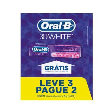 Creme Dental Oral-B 3D White - 70g Leve 3 Pague 2