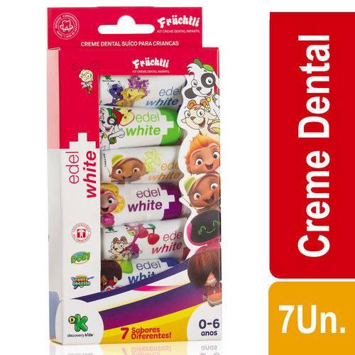 Creme Dental Suíço Edel-White Fruchtli Kids Frutas C/ 7 Bisnagas de 9,4mL Cada