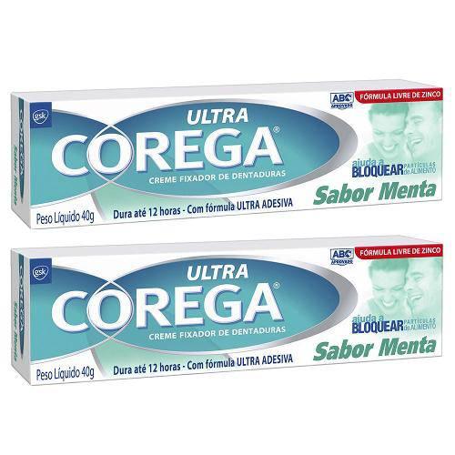 Creme Ultra Corega Sabor Menta 40g 2 Unidades