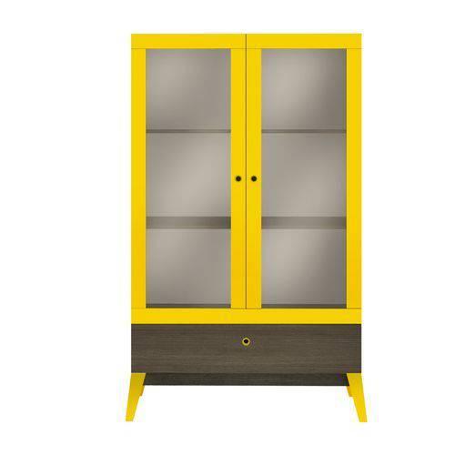 Cristaleira Genialflex 0810 2 Portas de Vidro e 1 Gaveta Demolição/Amarelo