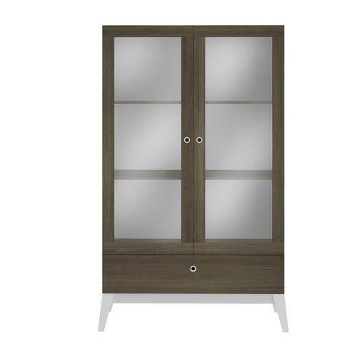 Cristaleira Genialflex 0810 2 Portas de Vidro e 1 Gaveta Demolição/Branco