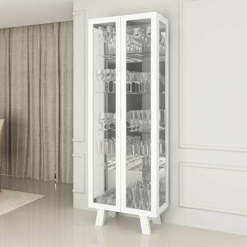 Cristaleira 2 Portas com Espelho de Fundo Tecno Mobili - Branco