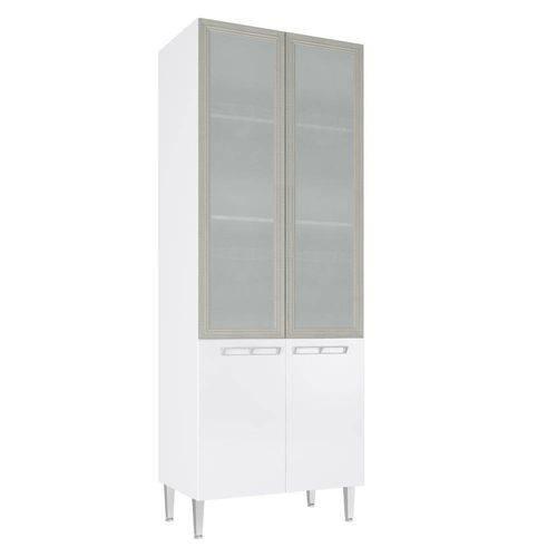 Cristaleira Profunda com 2 Porta Vidro Cz709 80x215 Branco - Art In Móveis