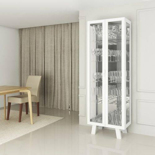 Cristaleira Tecno Mobili Cr6000 com Portas de Vidro Branco