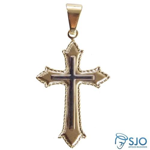 Crucifixo Folheado com Detalhe Prata | SJO Artigos Religiosos