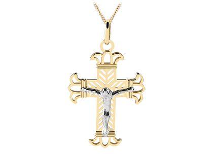 Cruz com Cristo em Ouro Amarelo