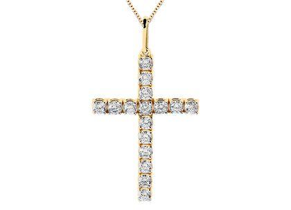 Cruz de Diamantes Grandes em Ouro Amarelo