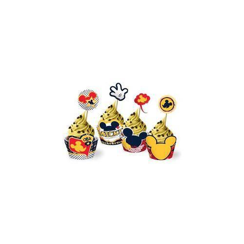 Cupcake Wrapper com Enfeite Mickey Clássico - 12 Unidades